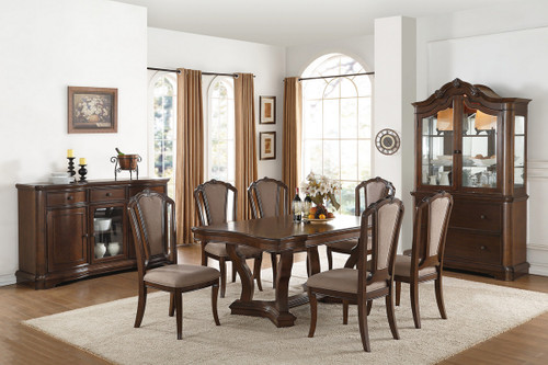 7PCS CHERRY RECTANGULAR DINING TABLE SET
