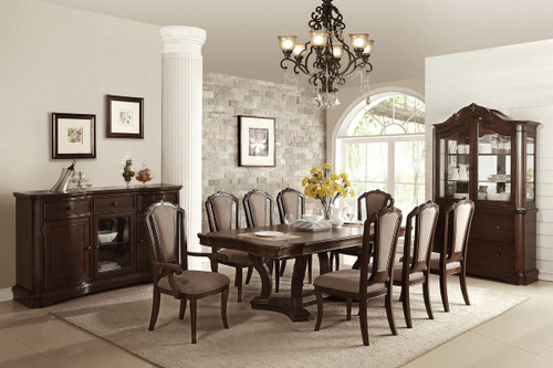 7PCS CHERRY FINISH DINING TABLE SET