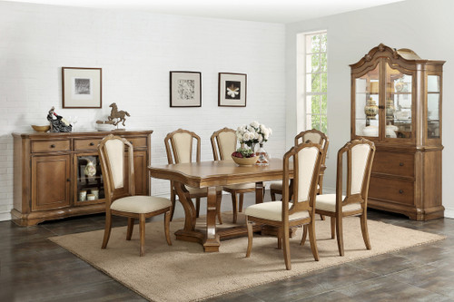 7PCS BROWN DINING TABLE SET
