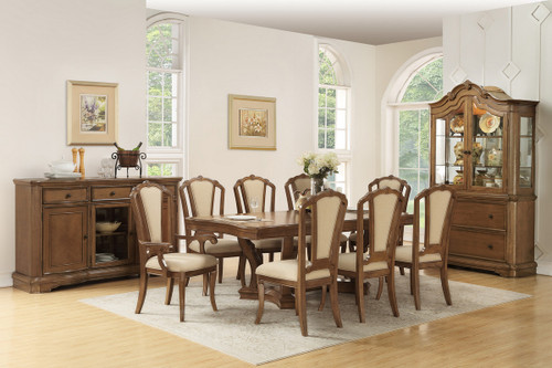 7PCS BROWN FINISH DINING TABLE SET