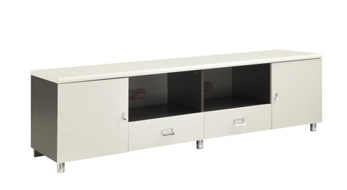 White Media TV Console with Chrome Hardware