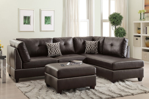 LANEY SECTIONAL WITH OTTOMAN IN ESPRESSO BONDED LEATHER