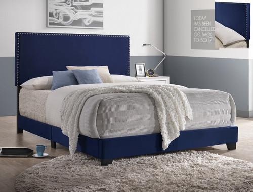 ERIN NAILHEAD VELVET BED NAVY
