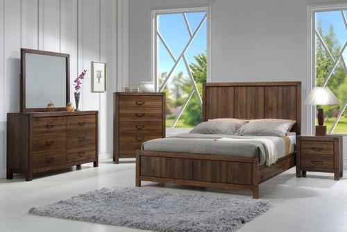 6 PCS BELMONT BEDROOM SET- WOOD HB  B3100-WOOD-Q