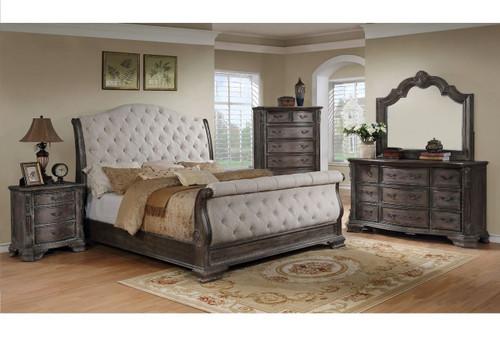 6 PCS SHEFFIELD GREY SLEIGH BED SET