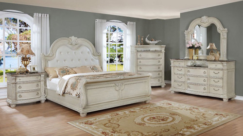 6 PCS STANELY ANTIQUE WHITE BED SET