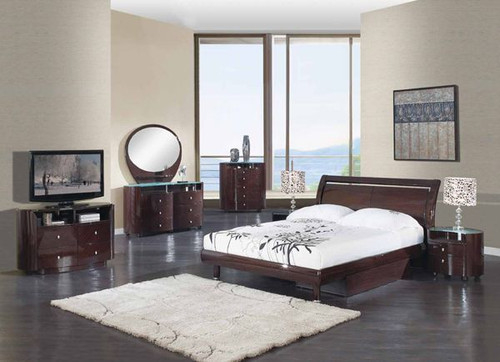 6PCS WENGE MODERN COSMO GLOSSY COLLECTION BEDROOM SET