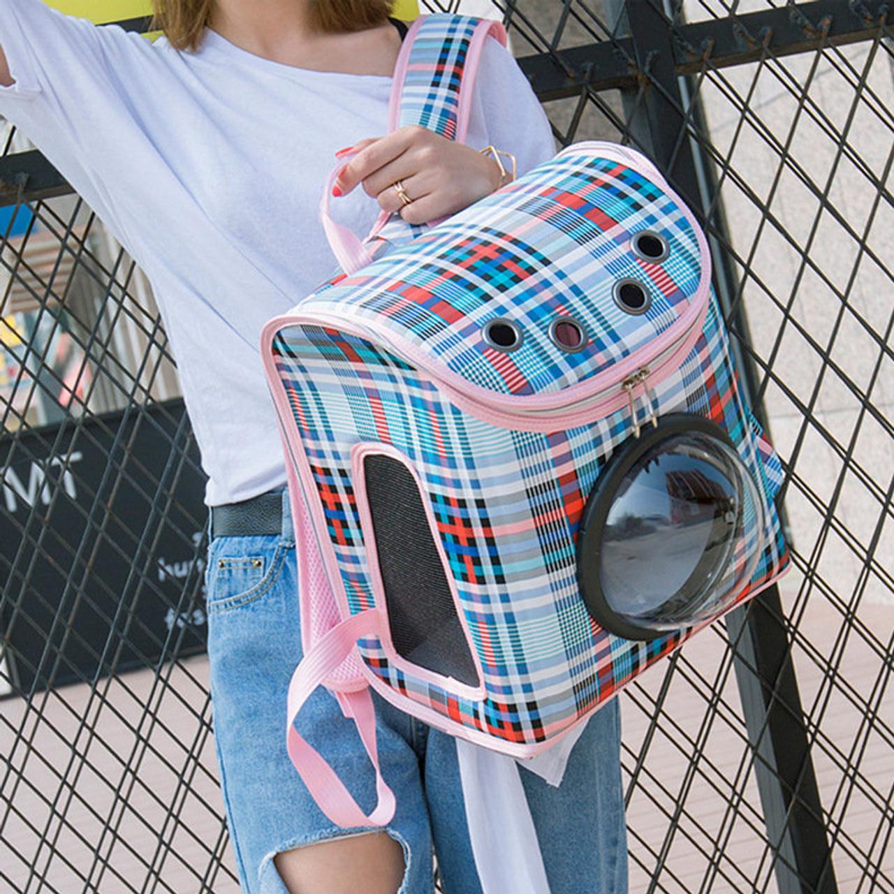 Design Cover Breathable Pet Travel Storage Bag Cat Bag Plaid Pattern ...