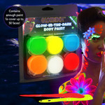 Glow Body Paint 6-Pack Assorted (NEW!)