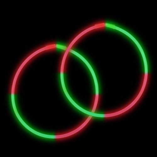 "22"" Premium Bi-Color Glow Necklaces Red/Green (50 per Pack)"