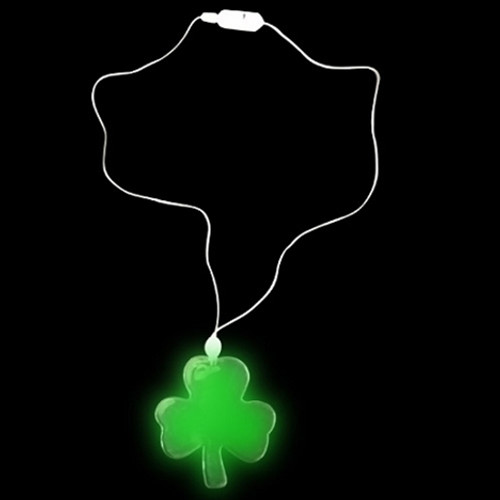 Green LED Shamrock Light Up Necklace