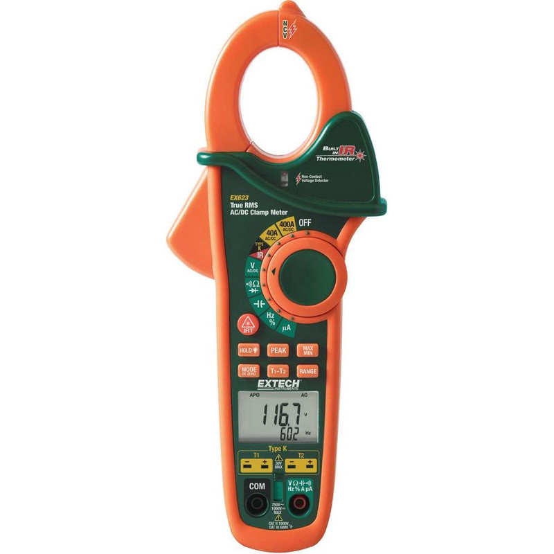 EX623 400A Dual Input AC/DC Clamp Meter + NCV + IR Thermometer with NIST