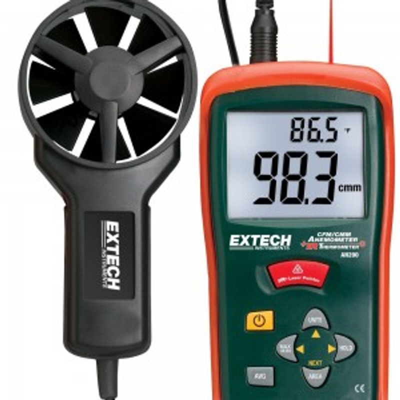 EXTECH AN200 CFM/CMM Mini Thermo-Anemometer with built-in InfaRed Thermometer with NIST