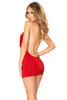 One piece red cowl neck mini dress back side image