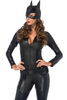 Shop this women's sexy cat woman costume with quilted leather catsuit and mask