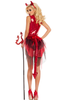 Shop this women's sexy sequin red devil costume with large tulle bustle and red devil sequin tail with matching red horns headband