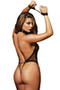 Shop this women's sexy black fishnet teddy lingerie with studded detail and wrist restraints