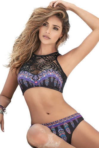 Shop women's tribal feather high neck thong bikini