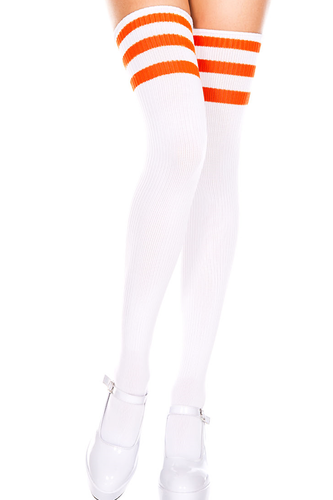 Shop these women's sexy white thigh high football athletic socks with orange horizontal stripes