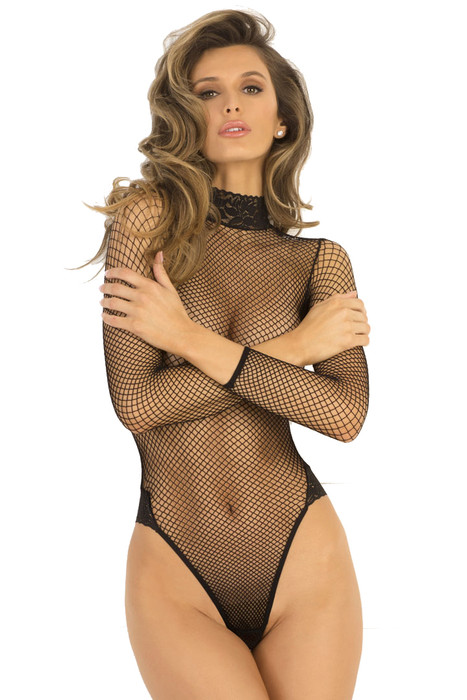 Shop black fishnet bodysuit with long sleeves and high neck lace collar