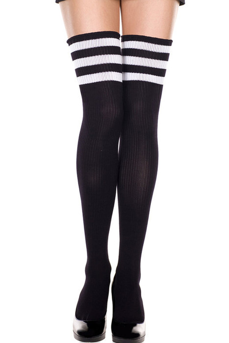 Shop women's Black Thigh High Football Socks with White Stripes