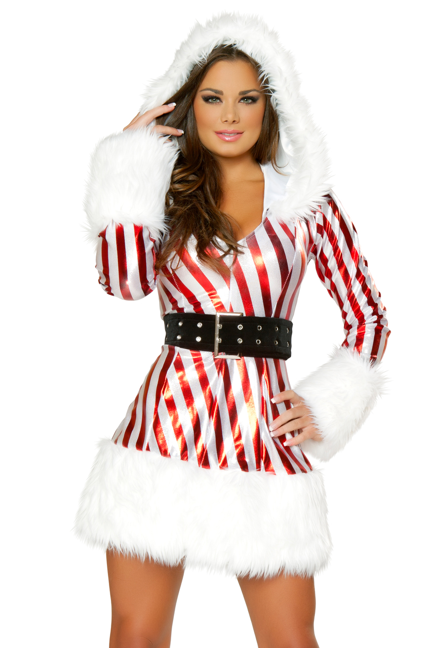 Shop J Valentine Metallic Candy Cane Hooded Dress With Long Sleeves And  Black Belt