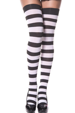 331c018593a15 Music Legs 4701 Wide Striped Thigh High Stockings Black/white One ...
