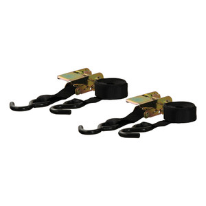CURT 10' Black Cargo Straps with S-Hooks (500 lbs., 2-Pack) #83009