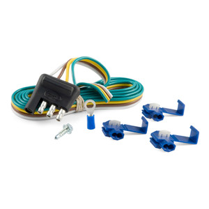 """CURT 4-Way Flat Connector Plug with 48"""" Wires & Hardware (Trailer Side, Packaged) #58349"""