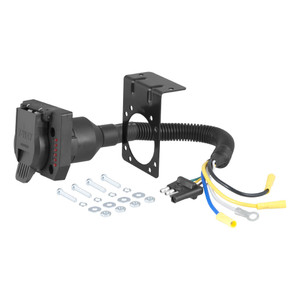 CURT Electrical Adapter with Tester (4-Way Flat Vehicle to 7-Way RV Blade Trailer) #57676