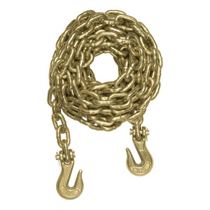 CURT 16' Transport Binder Safety Chain with 2 Clevis Hooks (26,400 lbs., Yellow Zinc) #80310