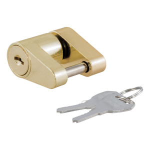 "CURT Coupler Lock (1/4"" Pin, 3/4"" Latch Span, Padlock, Brass-Plated) #23022"