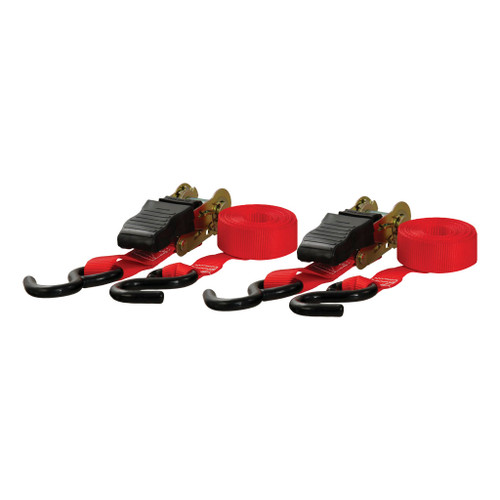 CURT 10' Red Cargo Straps with S-Hooks (500 lbs., 2-Pack) #83001