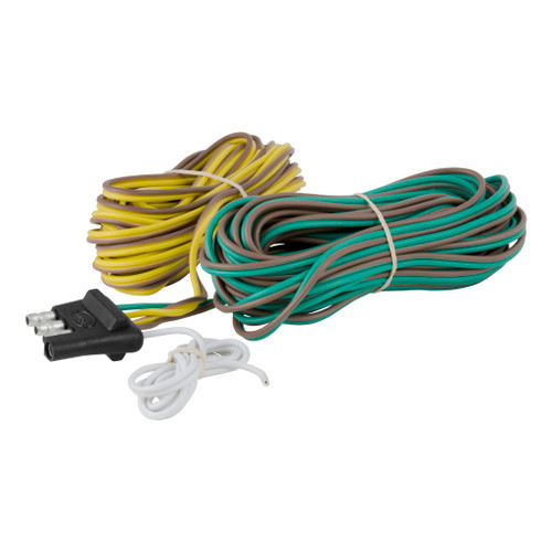 CURT 4-Way Flat Connector Plug with 20' Wires (Trailer Side, Packaged) #57220