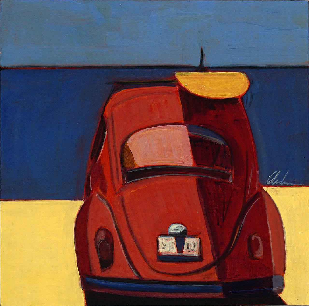 Red VW Bug with Yellow Surfboard