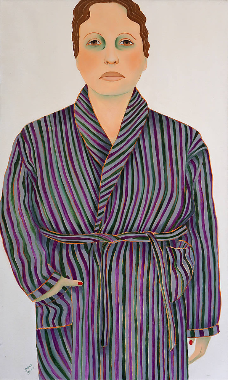 Woman in Striped Robe