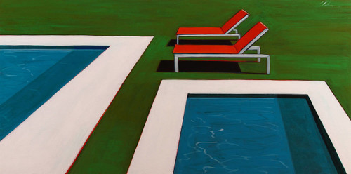 Two Pools with Orange Lounge Chairs