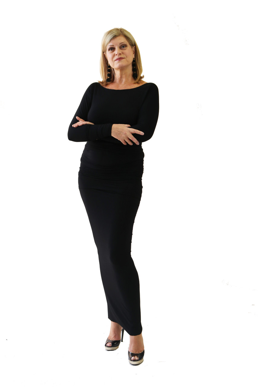 8085f28590eb5 Simple black bamboo boat neck dress. The dress is