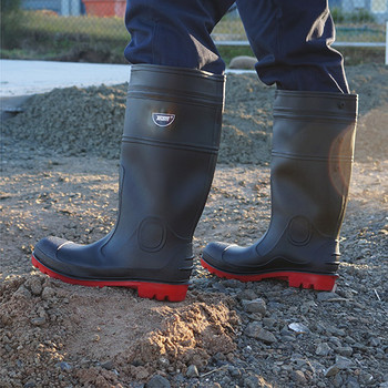 Classic gumboot black/red construction