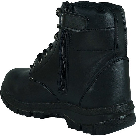High top zip up steel toe work boot black back