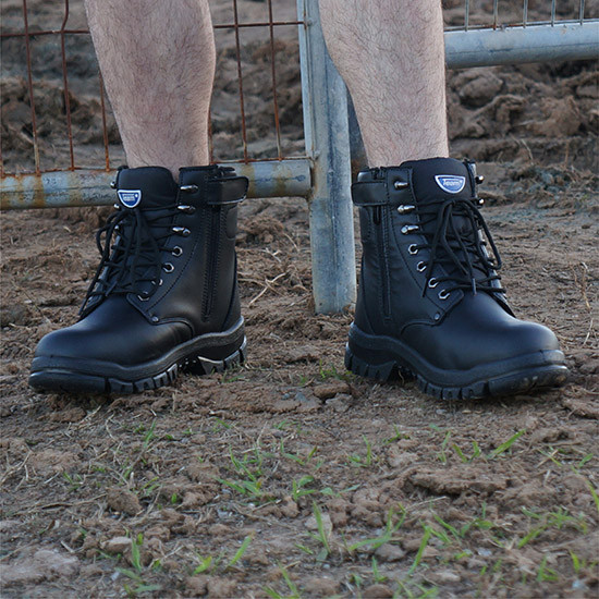 High top zip up steel toe work boot black construction