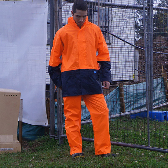 Tuflite hi-vis rain jacket and pants set orange construction