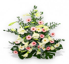 Funeral flowers baskets flower station choose options white and pink flower sympathy basket mightylinksfo