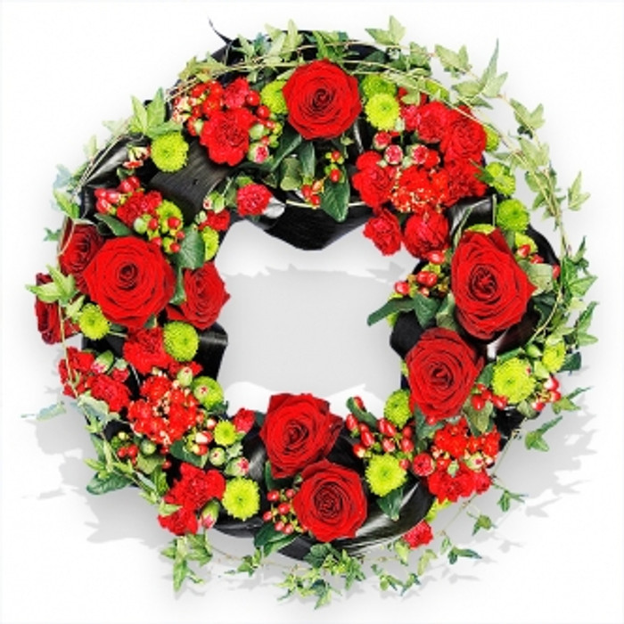 red rose and ivy wreath flower delivery flower station