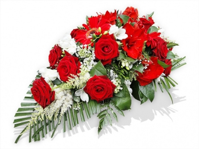 Red and white funeral spray flower delivery flower station red and white funeral spray mightylinksfo