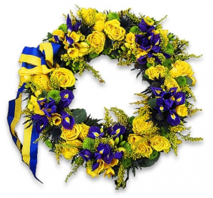 Blue and yellow funeral wreath blue and yellow mightylinksfo