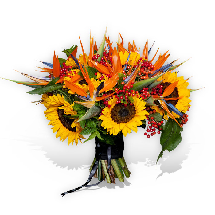 Sunflowers and Birds Of Paradise Bouquet - Flower Delivery London