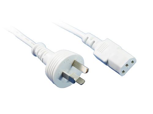 2M White IEC C13 Power Cable