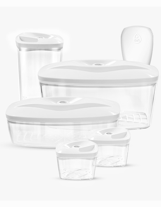 Dafi Set of 5 Vacuum Containers with Electric Pump (White)