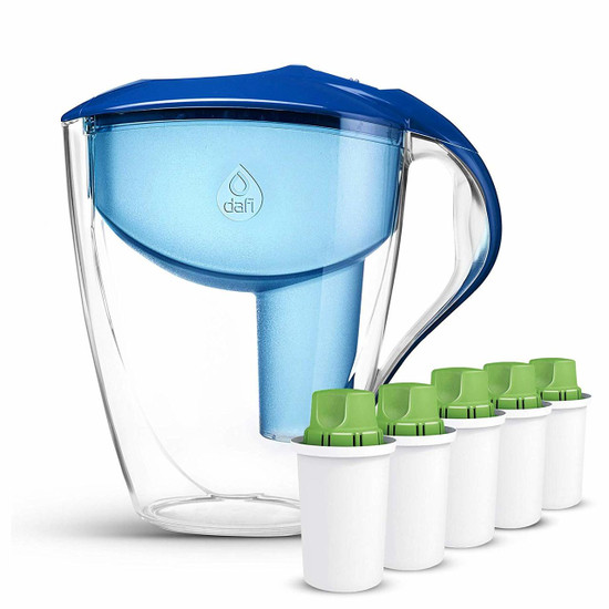 Dafi Astra Alkaline Pitcher with LED Sensor + 5 pack Alkaline Filters (Blue)